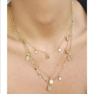 Ettika Crystal Detailed Triple Layer Necklace